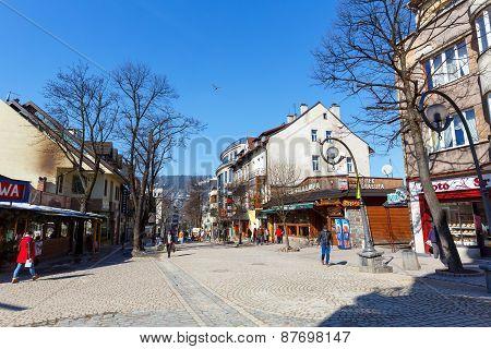 Krupowki Street In Zakopane, Poland