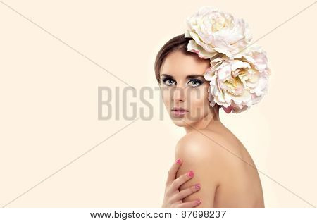 Beauty Young Woman Model With Flower In Her Hair. Fresh Skin, Skincare