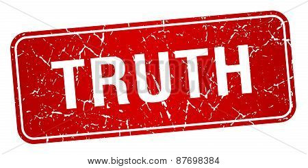 Truth Red Square Grunge Textured Isolated Stamp