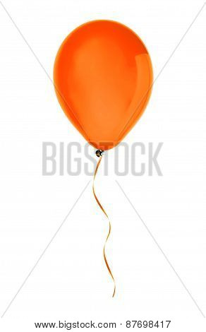Orange Happy Air Flying Balloon Isolated On White