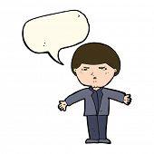 stock photo of annoyance  - cartoon annoyed man with speech bubble - JPG