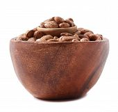 picture of pinto bean  - pinto beans on wood cup isolated on a white background - JPG