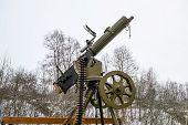 stock photo of maxim  - Maxim machine gun on board military vehicles - JPG
