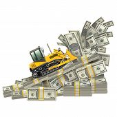 picture of bulldozer  - Earnings Growth Concept with money and bulldozer - JPG