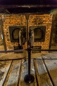 stock photo of auschwitz  - Crematorium in Auschwitz is the biggest nazi concentration camp in Europe - JPG