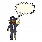 picture of peg-leg  - cartoon pirate captain with speech bubble - JPG