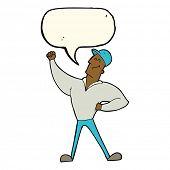 stock photo of striking  - cartoon man striking heroic pose with speech bubble - JPG