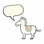 stock photo of donkey  - cartoon donkey with speech bubble - JPG