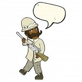 picture of hunters  - cartoon big game hunter with speech bubble - JPG