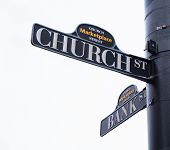 foto of intersection  - church and bank street sign on city intersection - JPG