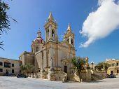 stock photo of gozo  - Sannat parrocchia dedicata a S. Margherita di Antiochia nell