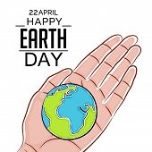 stock photo of earth  - illustration of a blue earth for Happy Earth Day - JPG