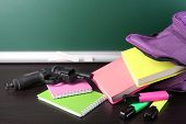 pic of guns  - Gun in school backpack on wooden desk - JPG