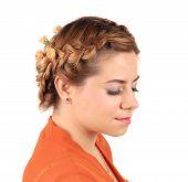 pic of braids  - Pretty girl with thick long braid - JPG