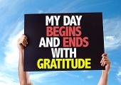 foto of humility  - My Day Begins and Ends with Gratitude card with sky background - JPG