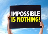 foto of impossible  - Impossible is Nothing card with sky background - JPG