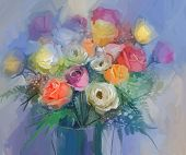stock photo of vase flowers  - Still life a bouquet of flowers - JPG