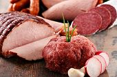 picture of slaughterhouse  - Assorted meat products including ham and sausages - JPG