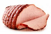 pic of slaughterhouse  - Piece of ham isolated on white background - JPG