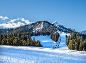 image of bavarian alps  - Mountain skiing slopes and ski lift at Hausberg top near Garmisch - JPG