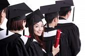 pic of graduation  - happy graduates student girl isolated on white background asian - JPG
