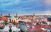 Постер, плакат: The View Over The Red Roofs Of Stare Mesto District In Prague C