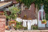 foto of clotheslines  - historic underwear on a clothesline in front of an old brick building - JPG