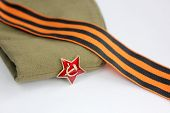 stock photo of army  - Military garrison cap of the soldier Krasnoy  - JPG