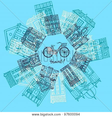 Houses And City Bicycle Postcard