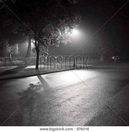 Stock Photo Of Streetlamp And Shadows In Fog, Black And White