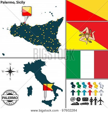Map Of Sicily, Italy