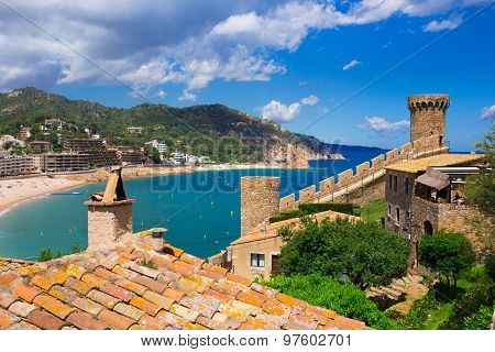 Waterfront and castle of Tossa de Mar. Costa Brava. Spain
