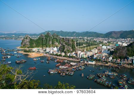 QUANGNINH, VIETNAM, July 12, 2015. Boats on the sea from high view in Halong bay. Halong bay is World Natural Heritage of Quang Ninh, Vietnam.