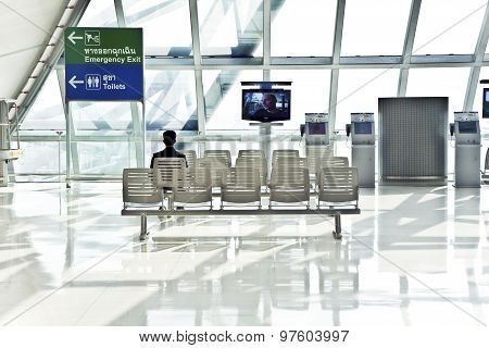 Passenger Waiting For Departure In The New Airport Suvarnabhumi In Bangkok