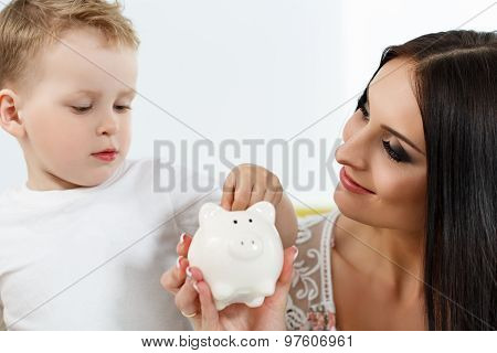 Smiling Brunette Woman And Little Boy