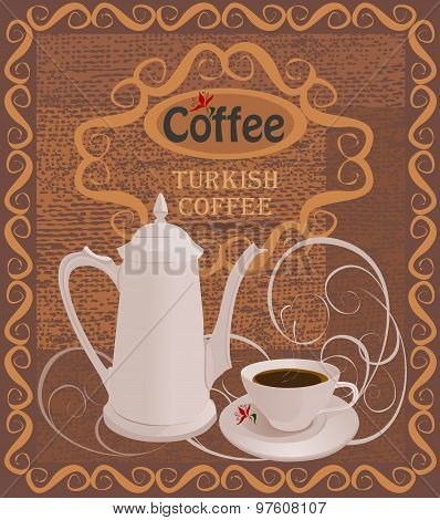 White coffee pot and white Cup of coffee on a brown background.