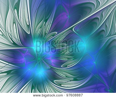 Abstract Fractal Design. Flower Petals In Blue.