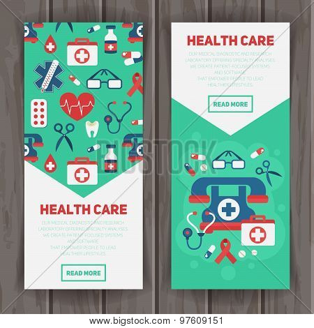 Medical Banners Templates In Trendy Flat Style