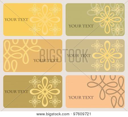 Set Of Six Cards With Elegant Pattern