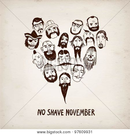 Funny Beards Illustration For Movember Action