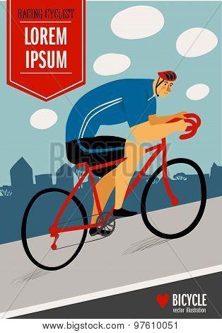 Racing Cyclist Vitage Poster