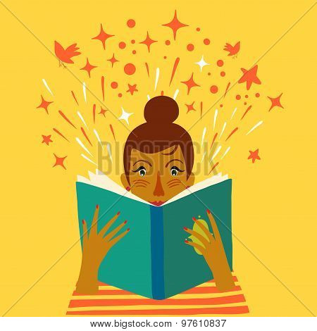 Girl Reading A Book Cartoon Illustration