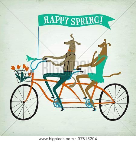 Lovely Dogs Cyclists Spring  Illustration