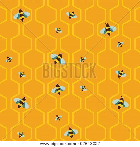 pattern of the bee on honeycombs background