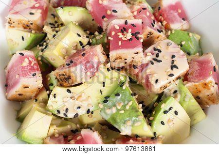 Freh Avocado And Tuna Salad With Japanese Wafu Sauce