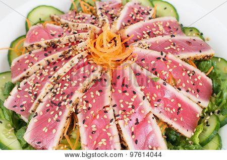 Closeup Of Japanese  Grilled Tuna Salad