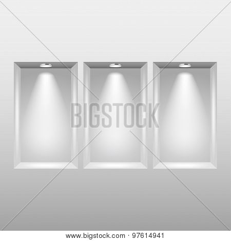 Empty Niches In Wall With Spot Lights Vector
