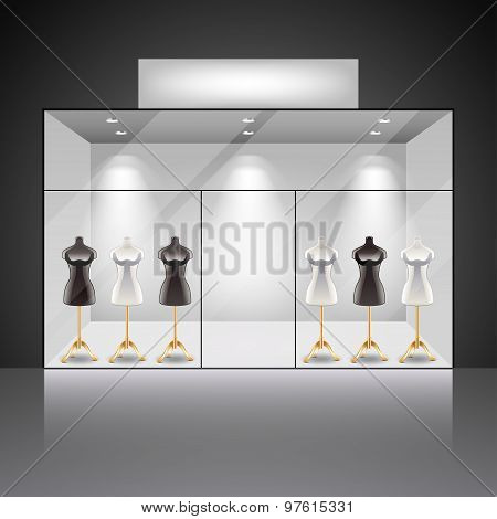 Illuminated Shop Showcase Interior With Mannequins