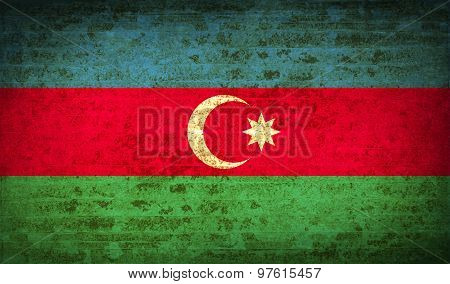 Flags Azerbaijan With Dirty Paper Texture. Vector