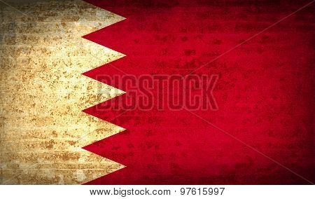 Flags Bahrain With Dirty Paper Texture. Vector